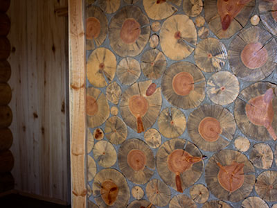 Tree stump wall mosaic
